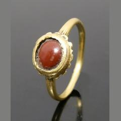 Superb Medieval Gold Ring With Hard Stone Set