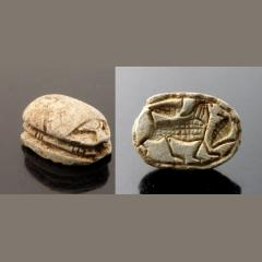 Large Egyptian Steatite Scarab Depicting Lion & Uraeus