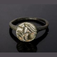 Roman Bronze Ring Depicting An Antelope