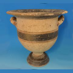 Greek Terracotta Messapian Twin Handled Bell Krater