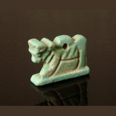Egyptian Blue Glazed Faience Apis Bull Amulet