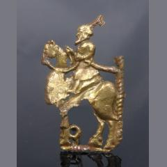 Rare Medeival Brass Applique Of A Wise Man On A Camel