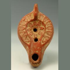 Late Roman Terracotta Oil Lamp Depicting A Floral Motif