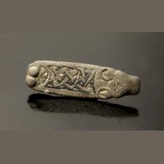 Anglo-Saxon Zoomorphic Silver Strap End With Niello Inlay