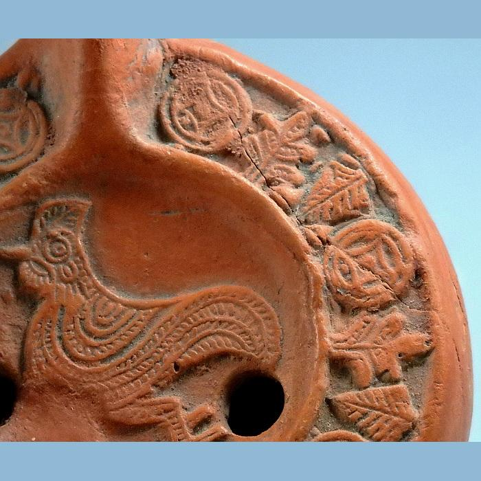 Byzantine Terracotta Oil Lamp Depicting A Cockerel