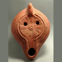 Late Roman Terracotta Oil Lamp With Floral Motif